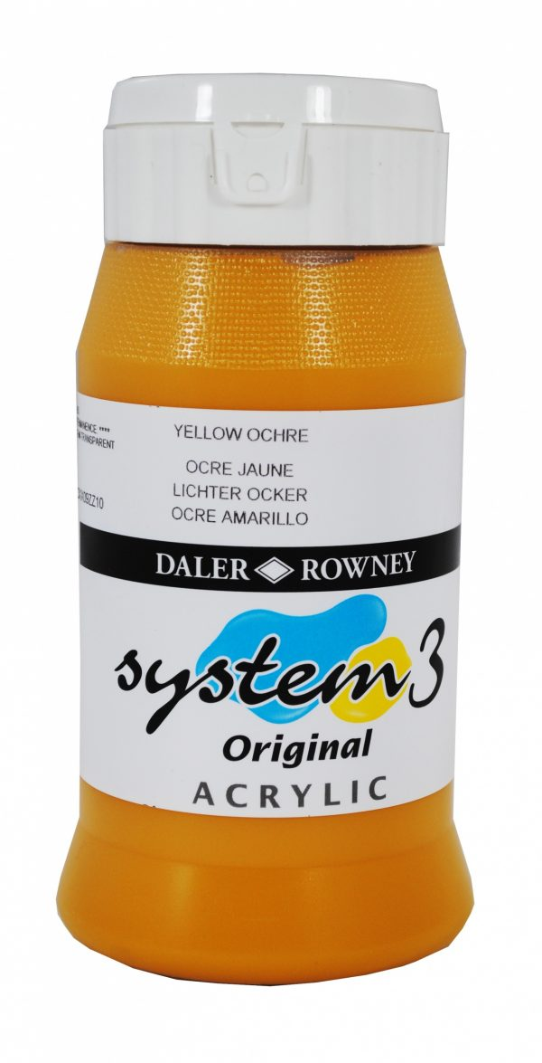 System 3 Original Acrylic Colour 500ml Yellow Ochre