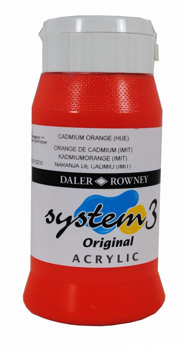 System 3 Original Acrylic Colour 500ml Cadmium Orange Hue