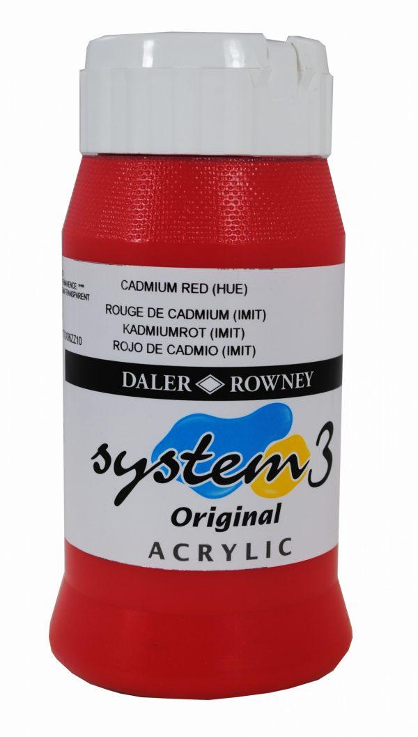 System 3 Original Acrylic Colour 500ml Cadmium Red Hue