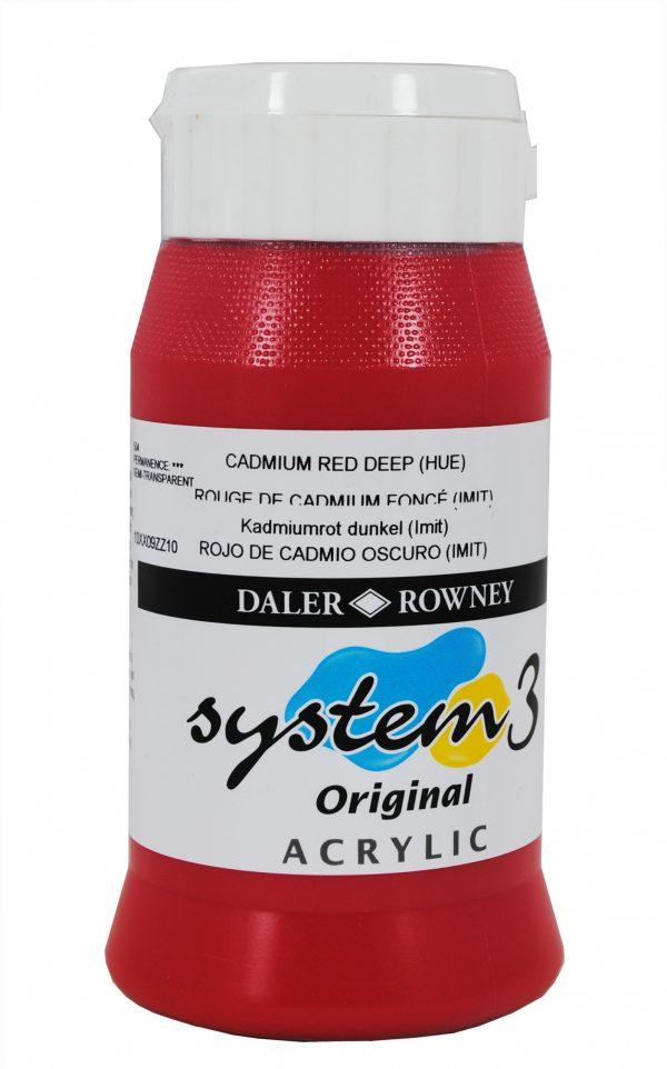 System 3 Original Acrylic Colour 500ml Cadmium Red Deep Hue
