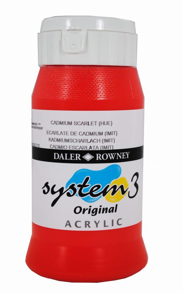 System 3 Original Acrylic Colour 500ml Cadmium Scarlet Hue