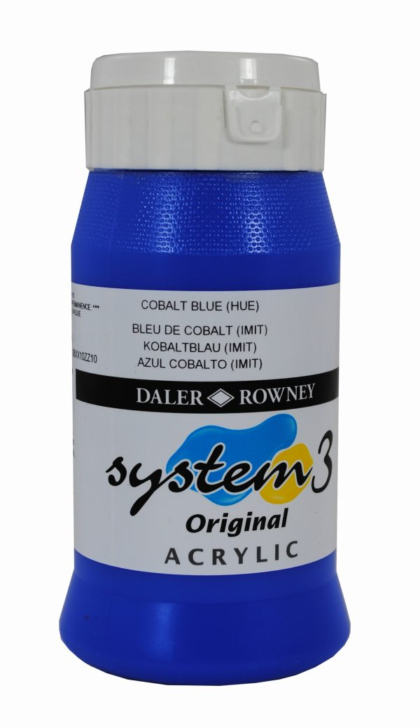 System 3 Original Acrylic Colour 500ml Cobalt Blue Hue