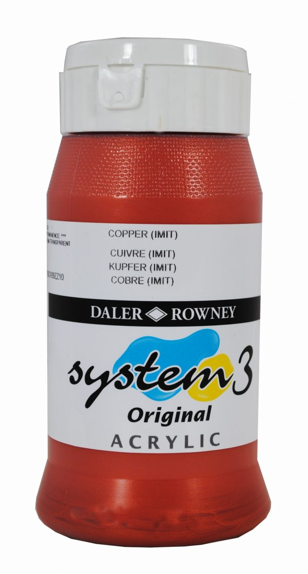 System 3 Original Acrylic Colour 500ml Copper Imit