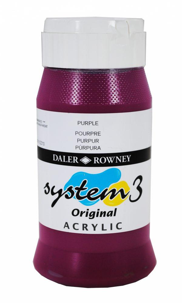 System 3 Original Acrylic Colour 500ml Purple