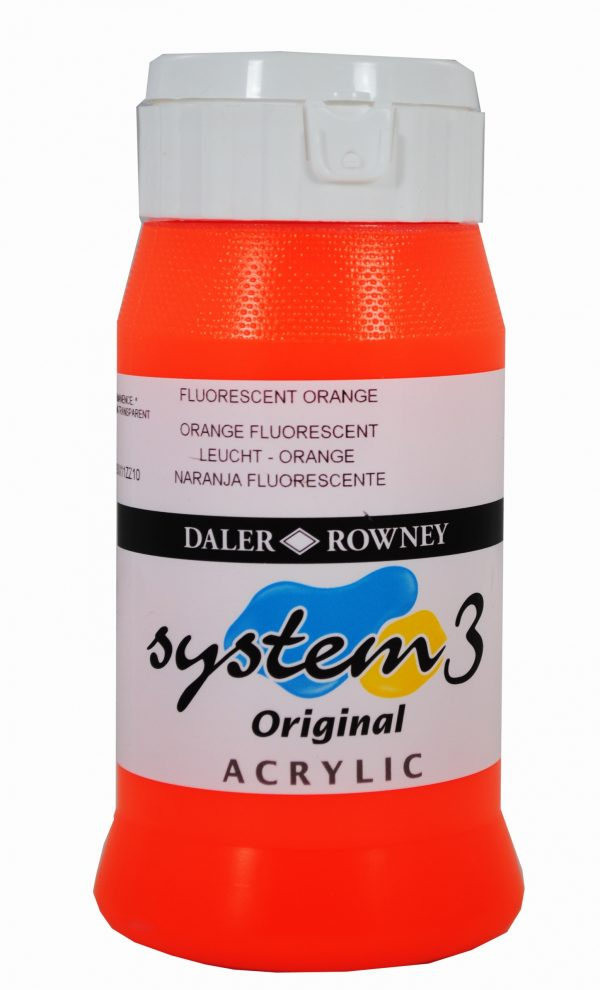 System 3 Original Acrylic Colour 500ml Fluorescent Orange
