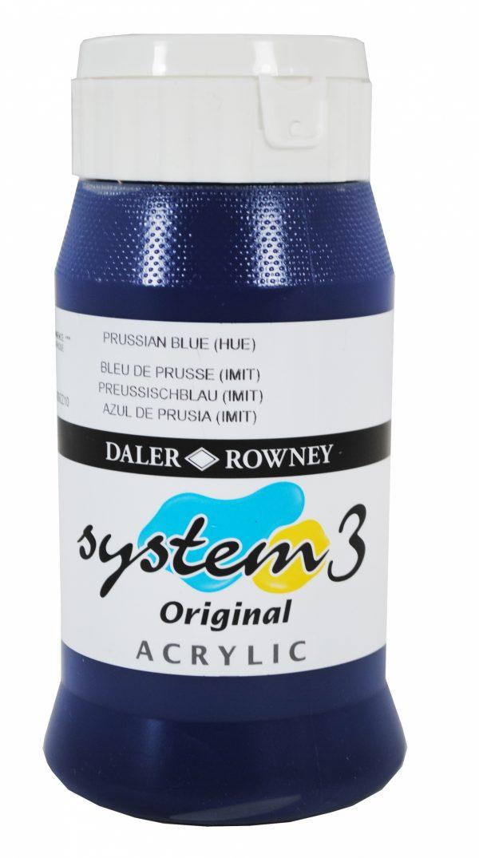 System 3 Original Acrylic Colour 500ml Prussian Blue Hue