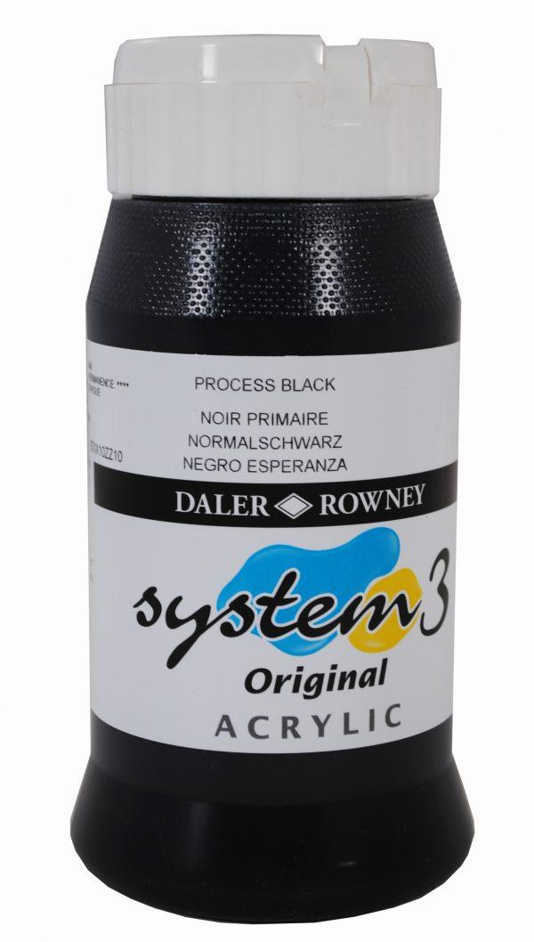 System 3 Original Acrylic Colour 500ml Process Black