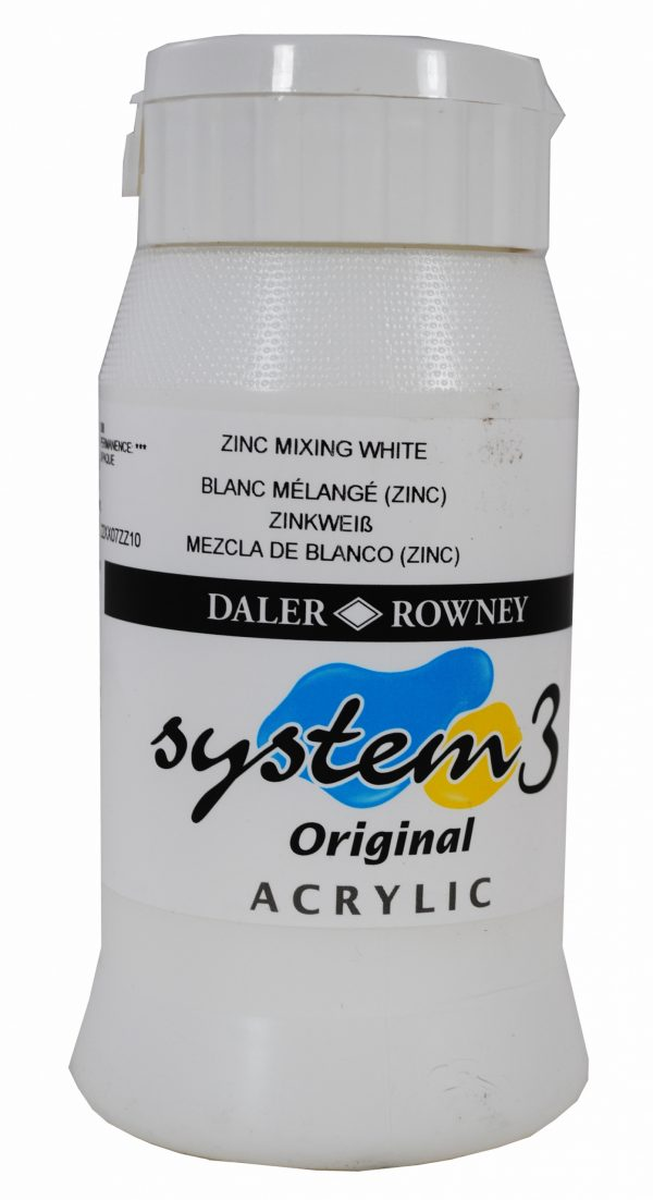 System 3 Original Acrylic Colour 500ml Zinc Mixing White