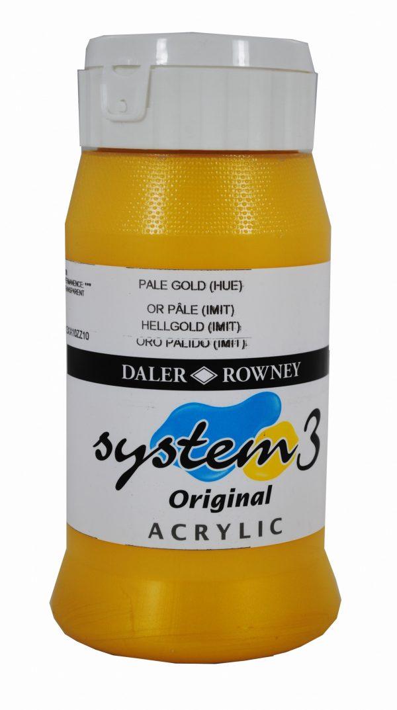 System 3 Original Acrylic Colour 500ml Pale Gold Hue