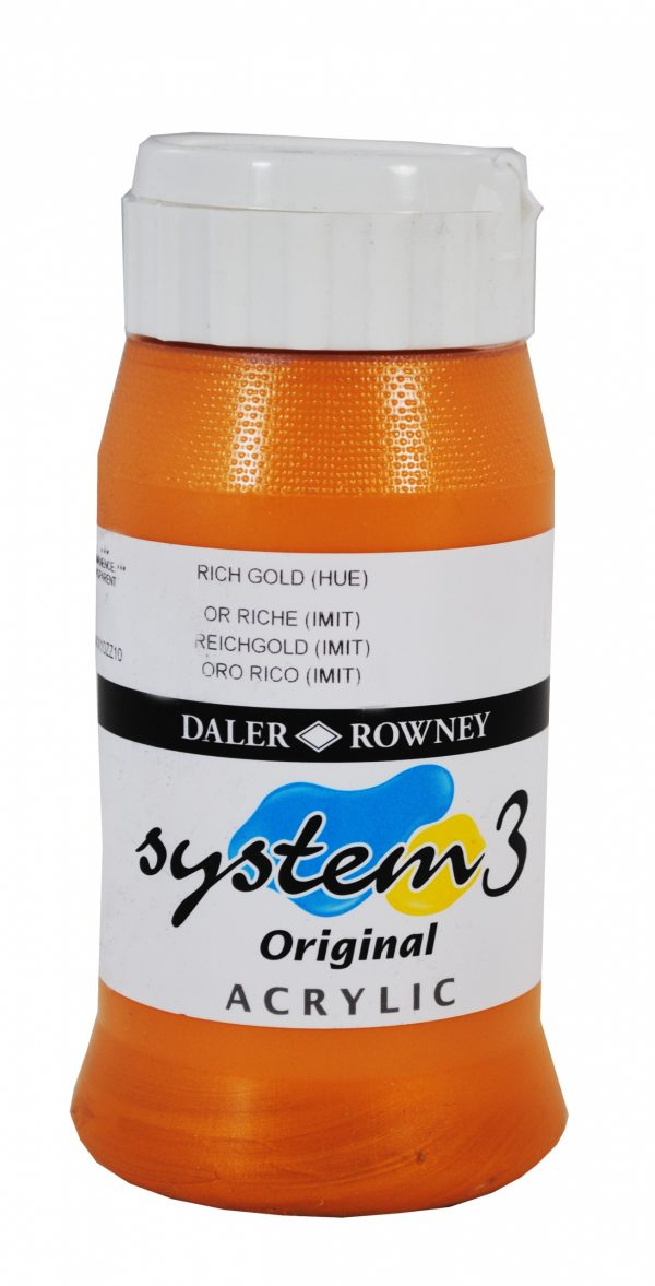 System 3 Original Acrylic Colour 500ml Rich Gold Hue