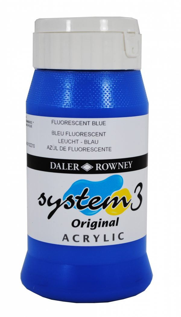System 3 Original Acrylic Colour 500ml Fluorescent Blue