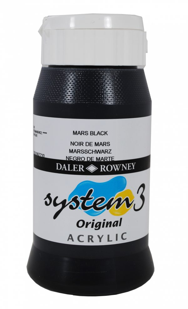 System 3 Original Acrylic Colour 500ml Mars Black
