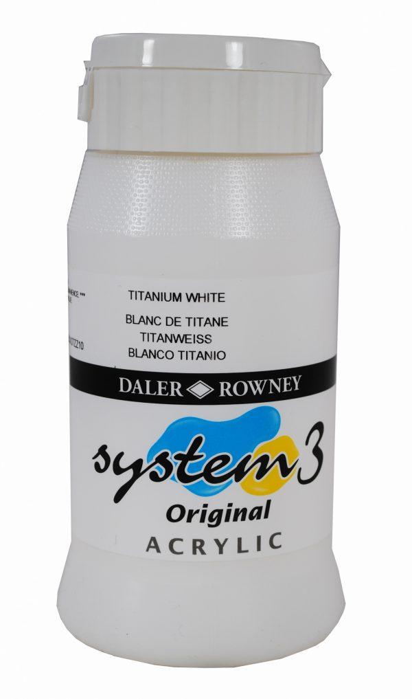 System 3 Original Acrylic Colour 500ml Titanium White