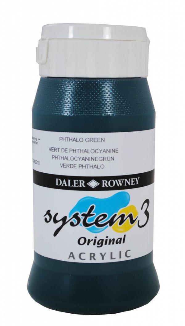 System 3 Original Acrylic Colour 500ml Phthalo Green