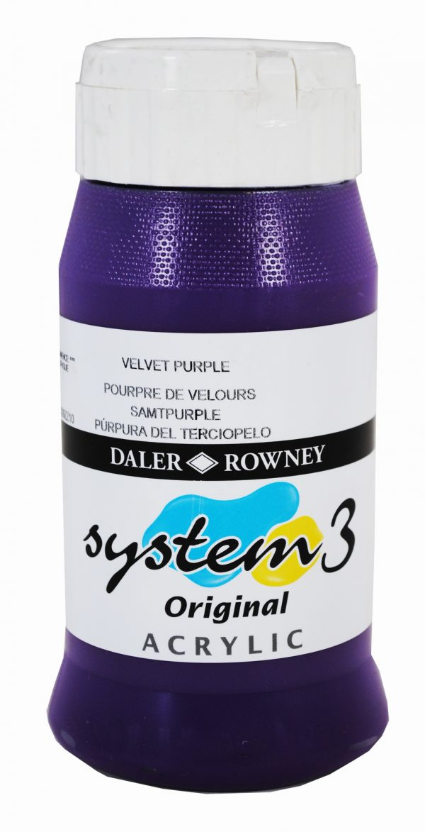 System 3 Original Acrylic Colour 500ml Velvet Purple