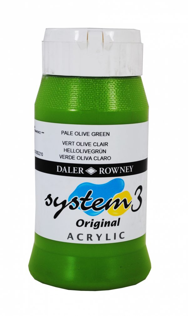 System 3 Original Acrylic Colour 500ml Pale Olive Green