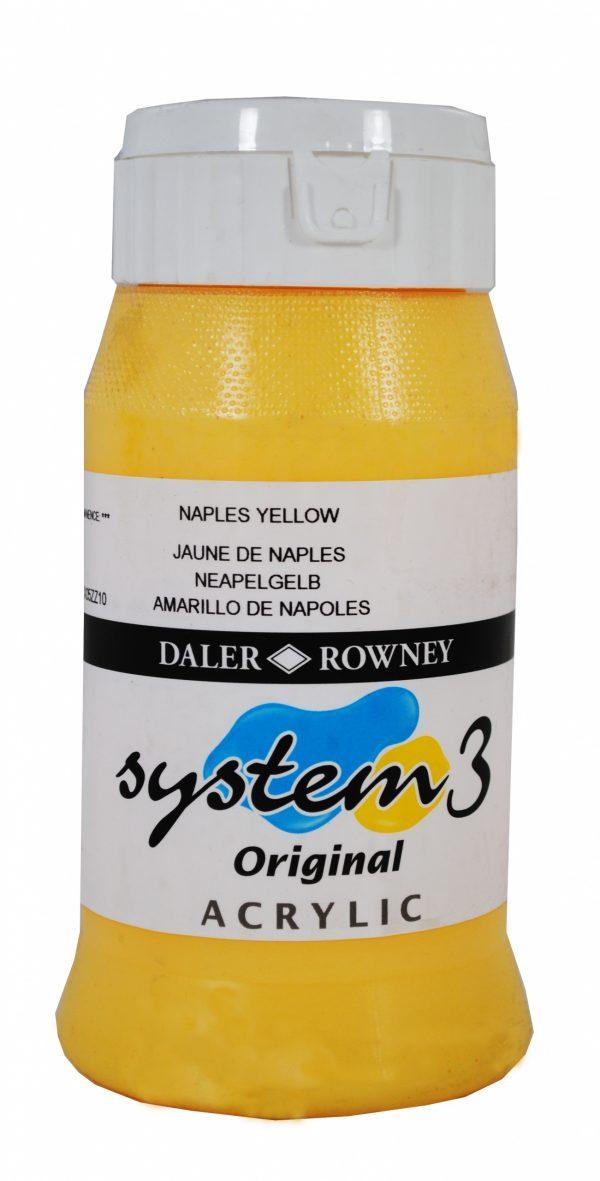 System 3 Original Acrylic Colour 500ml Naples Yellow